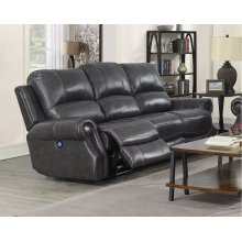 EM1196 Collection - Dual Reclining Sofa with Power Headrest  USB  Charcoal Gray