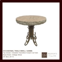 Occasional Side Round Large Table Iron Base Vintage Silver Finish Mesquite Wood Top Product Image
