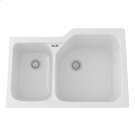 White Allia Fireclay 2 Bowl Undermount Kitchen Sink Product Image