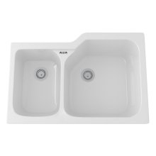 White Allia Fireclay 2 Bowl Undermount Kitchen Sink