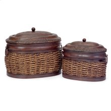 Rattan/Metal Lidded Boxes - Set of 2