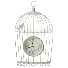 Distressed Ivory Bird Cage Wall Clock