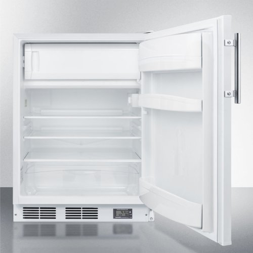 Counter Height Break Room Refrigerator-freezer In White With Nist Calibrated Thermometer and Alarm