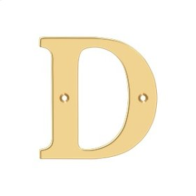 """4"""" Residential Letter D - PVD Polished Brass"""