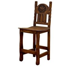 "24"" Barstool W/Rope,Star & Wood Seat"