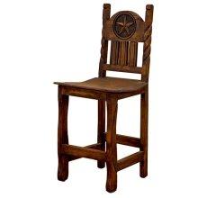 "24"" Barstool W/Rope,Star & Wood Seat"