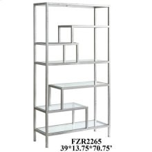 Hollywood Dabbed Silver Leaf and Beveled Glass Offset Etagere