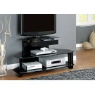 """TV STAND - 48""""L / GLOSSY BLACK WOOD / METAL / TEMPERED Product Image"""