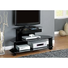 """TV STAND - 48""""L / GLOSSY BLACK WOOD / METAL / TEMPERED"""