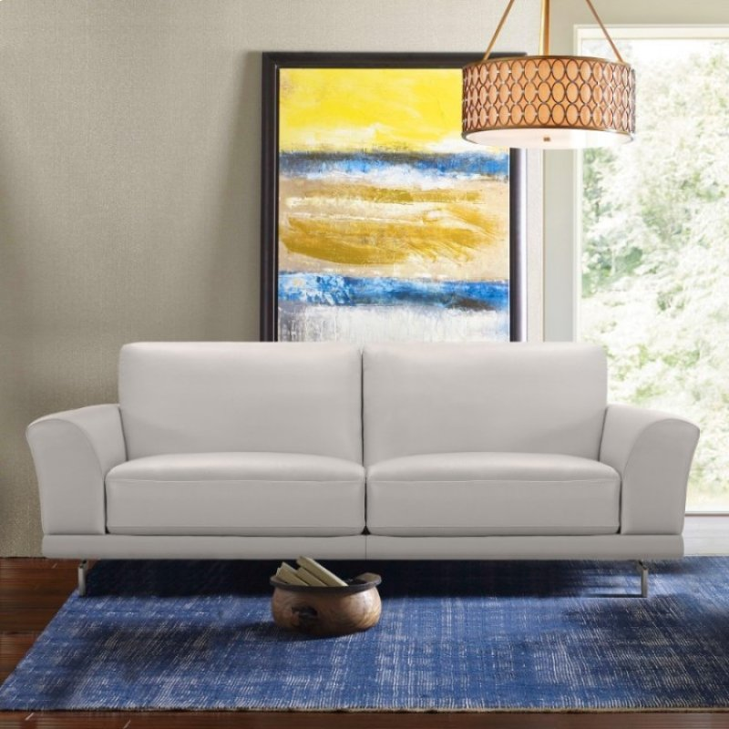 Armen Living Everly Contemporary Sofa In Genuine Dove Grey Leather With Brushed Stainless Steel Legs