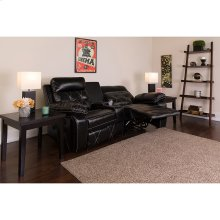 Reel Comfort Series 2-Seat Reclining Black Leather Theater Seating Unit with Curved Cup Holders