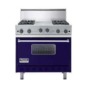 """Cobalt Blue 36"""" Open Burner Commercial Depth Range - VGRC (36"""" wide, four burners 12"""" wide griddle/simmer plate)"""