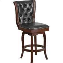 26'' High Cappuccino Wood Counter Height Stool with Button Tufted Back and Black Leather Swivel Seat
