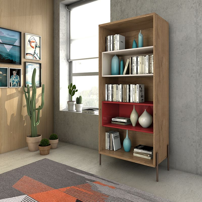 Joy 5- Shelf Bookcase in Red and Off White