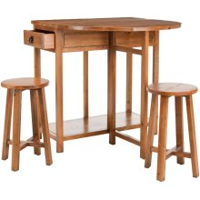 Miles Portable Bar With Two Stools - Brown Pine