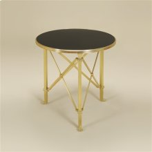 Satina Finished Brass Occasional Table, Eglomise Black Lacquer Glass Top