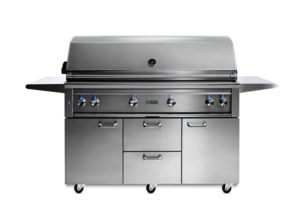 "54"" Lynx Professional Freestanding Grill with 1 Trident and 3 Ceramic Burners and Rotisserie, NG