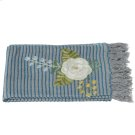 Grey and Blue Striped Embroidered Floral Throw. Product Image