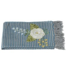 Grey and Blue Striped Embroidered Floral Throw