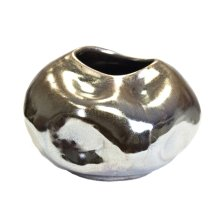 Ceramic Wide Vase, Gun Metal