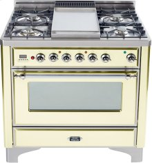 Antique White with Chrome trim - Majestic 36-inch Range with 6-Burner