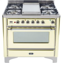 Antique White with Chrome trim - Majestic 36-inch Range with Griddle