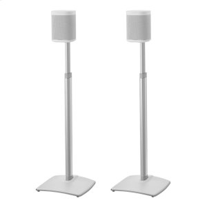 White Adjustable Height Wireless Speaker Stands designed for SONOS ONE, Play:1, and Play:3 - WHITE