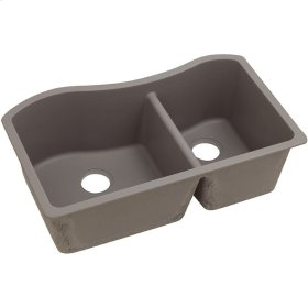 "Elkay Quartz Classic 32-1/2"" x 20"" x 10"", 60/40 Double Bowl Undermount Sink, Greige"