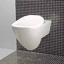 """Wall-hung porcelain toilet for concealed flushing system, includes a seat cover.W: 14 3/4""""_x000D_ D: 21 5/8"""" H: 13 3/4""""."""