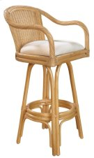 """Key Largo Indoor Swivel Rattan & Wicker 30"""" Bar Stool in Natural Finish with Cushion Product Image"""