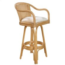 "Key Largo Indoor Swivel Rattan & Wicker 30"" Bar Stool in Natural Finish with Cushion"