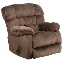 Contemporary Sharpei Espresso Microfiber Rocker Recliner with Thick Tufted Back