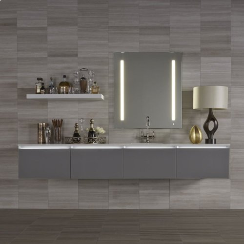 "Cartesian 24-1/8"" X 15"" X 21-3/4"" Single Drawer Vanity In Satin White With Slow-close Plumbing Drawer and Night Light In 5000k Temperature (cool Light)"