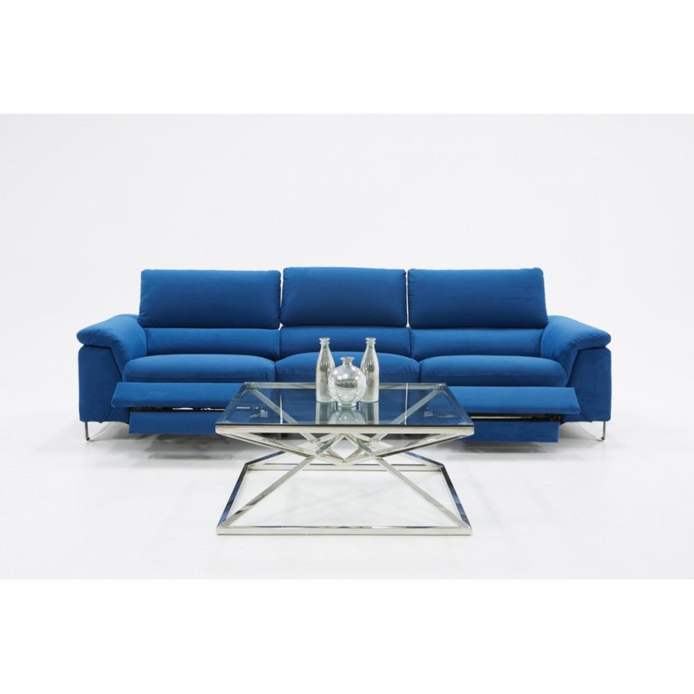 Divani Casa Maine Modern Blue Fabric Sofa w/ Electric Recliners