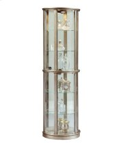 Lighted Half Round 5 Shelf Curio Cabinet in Aged Silver Product Image