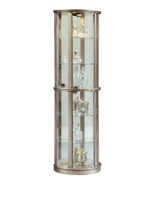 Lighted Half Round 5 Shelf Curio Cabinet in Aged Silver