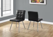 "DINING CHAIR - 2PCS / 32""H / BLACK LEATHER-LOOK / CHROME"