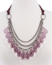 BTQ Purple Crystal Teardrop Necklace