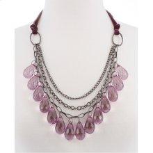 BTQ Purple Crystal Teardrop Necklace