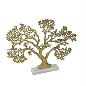 Alumunum Tree W/ Marble Stand,gold