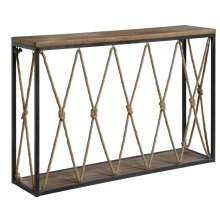 Bar Harbor Rustic Wood and Metal Rope Console Table