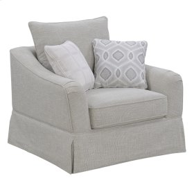 Swivel Glider Chair W/1 Back Pillow + 2accent Pillows-sand Beige