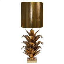 Gold Leaf Brutalist Palm Table Lamp With Gold Metal Shade