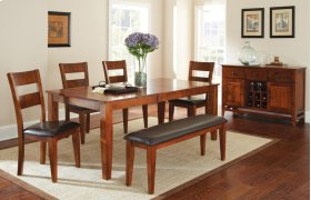 """Mango Table w/ 18"""" Butterfly Leaf 4 Chairs and Bench"""