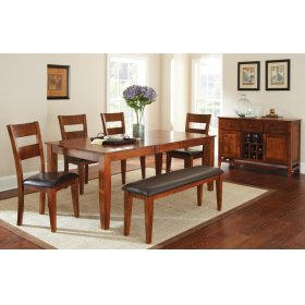 "Mango Table w/ 18"" Butterfly Leaf 4 Chairs and Bench"