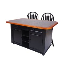 CY-KITT02-B24-AB3PC  3 Piece Antique Black Kitchen Island Set with Gray Tile Top