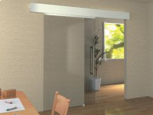 Barn Door Style Self-closing Sliding Glass Door System
