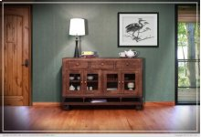 3 Drawer, 4 Doors Console w/wooden shelf, iron base and casters