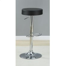 Black Faux Leather Adjustable Bar Stool
