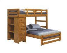 Heartland Twin over Full Loft Bed with Small Chest with options: Honey Pine, Twin over Full